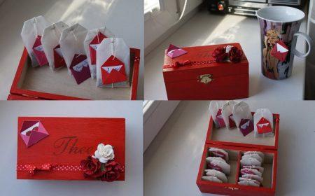 валентинка из чайных пакетиков