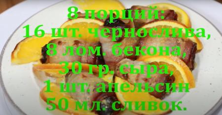 Фаршированный чернослив в беконе на 8 порций