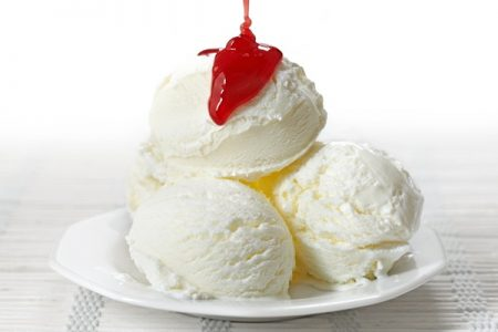 Ice cream with strawberry jam