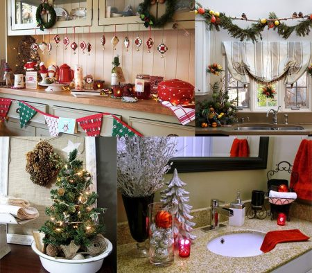 украшаем кухню и ванную комнату на новый год